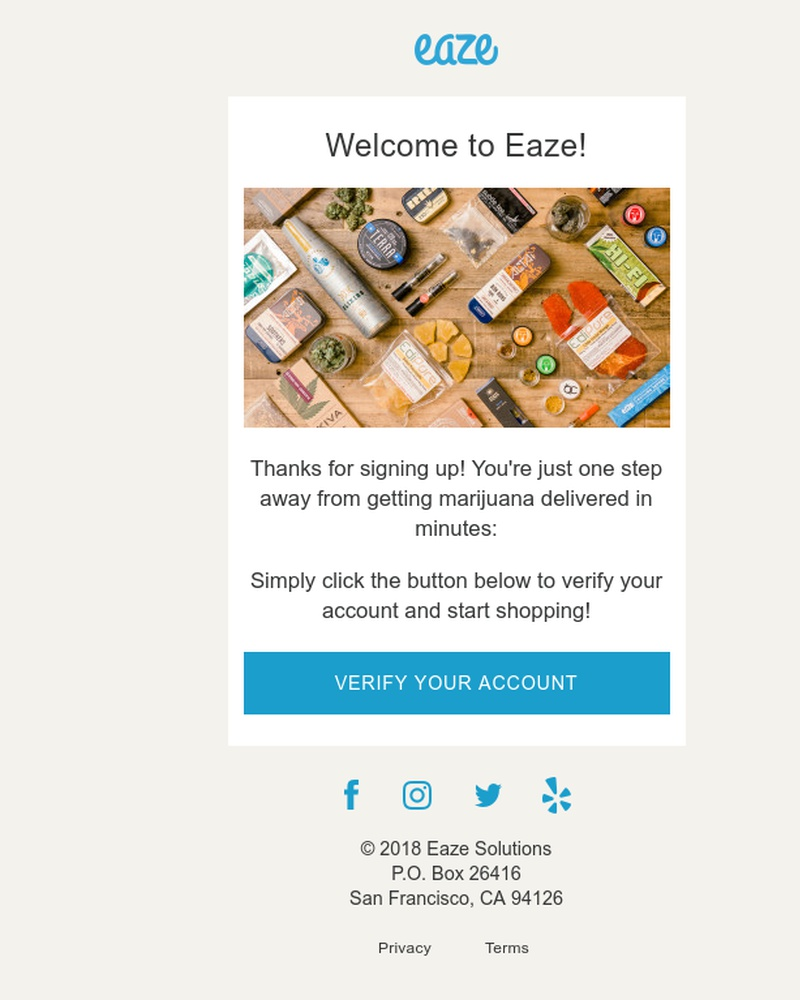Screenshot of email sent to a Eaze Registered user