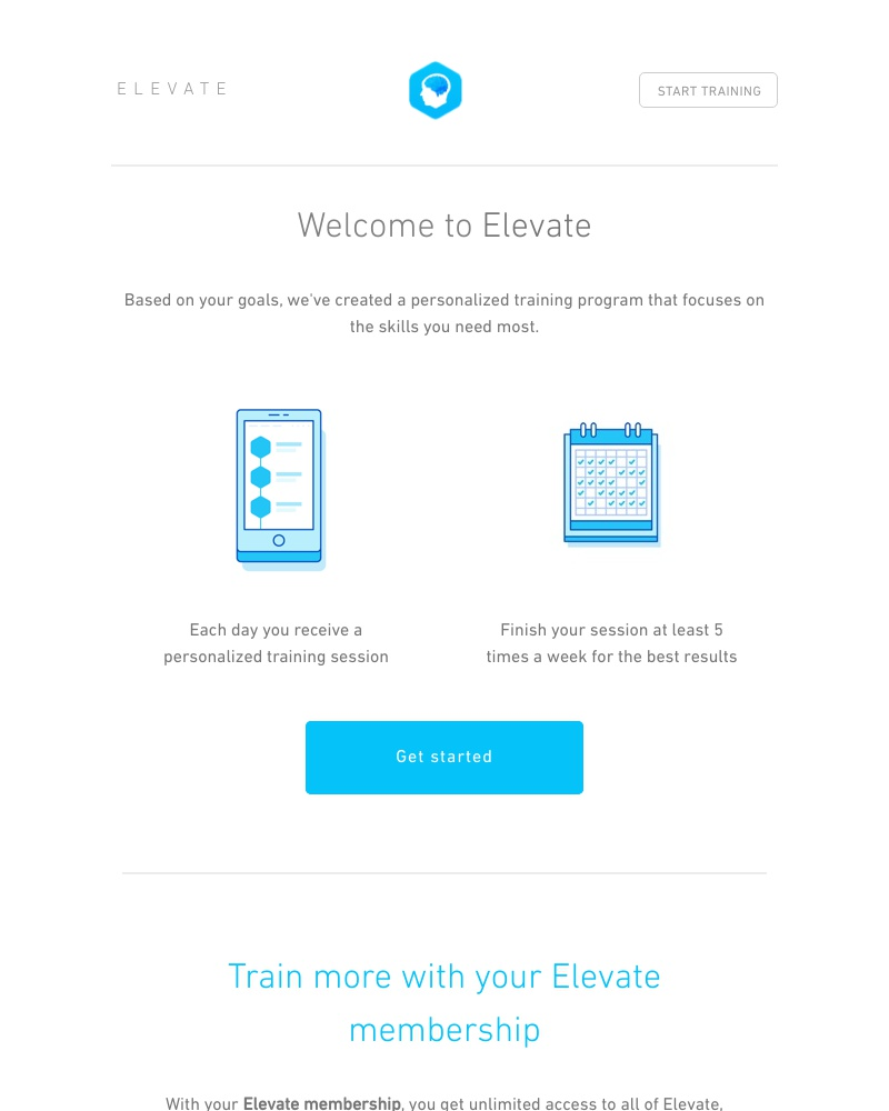 Screenshot of email sent to a Elevate Registered user
