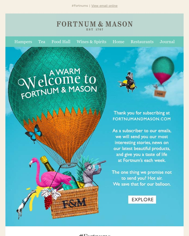 Screenshot of email sent to a Fortnum & Mason Newsletter subscriber