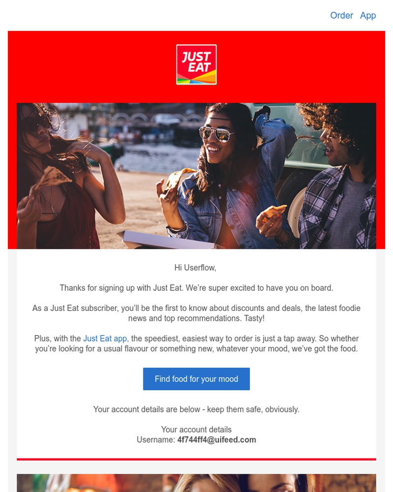 Screenshot of email sent to a Just Eat Registered user