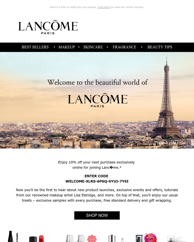 Screenshot of email sent to a Lancôme Newsletter subscriber