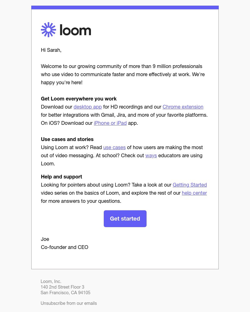 Screenshot of email sent to a Loom Registered user