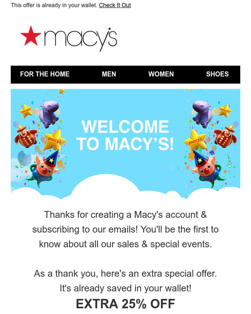 Screenshot of email sent to a Macy's Cart abandoner