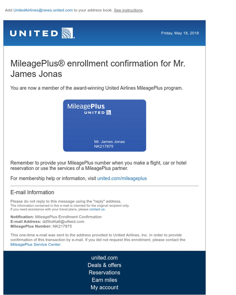 Screenshot of email sent to a United Registered user