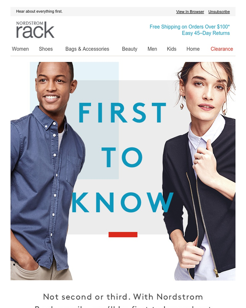 Screenshot of email sent to a Nordstrom Rack Newsletter subscriber