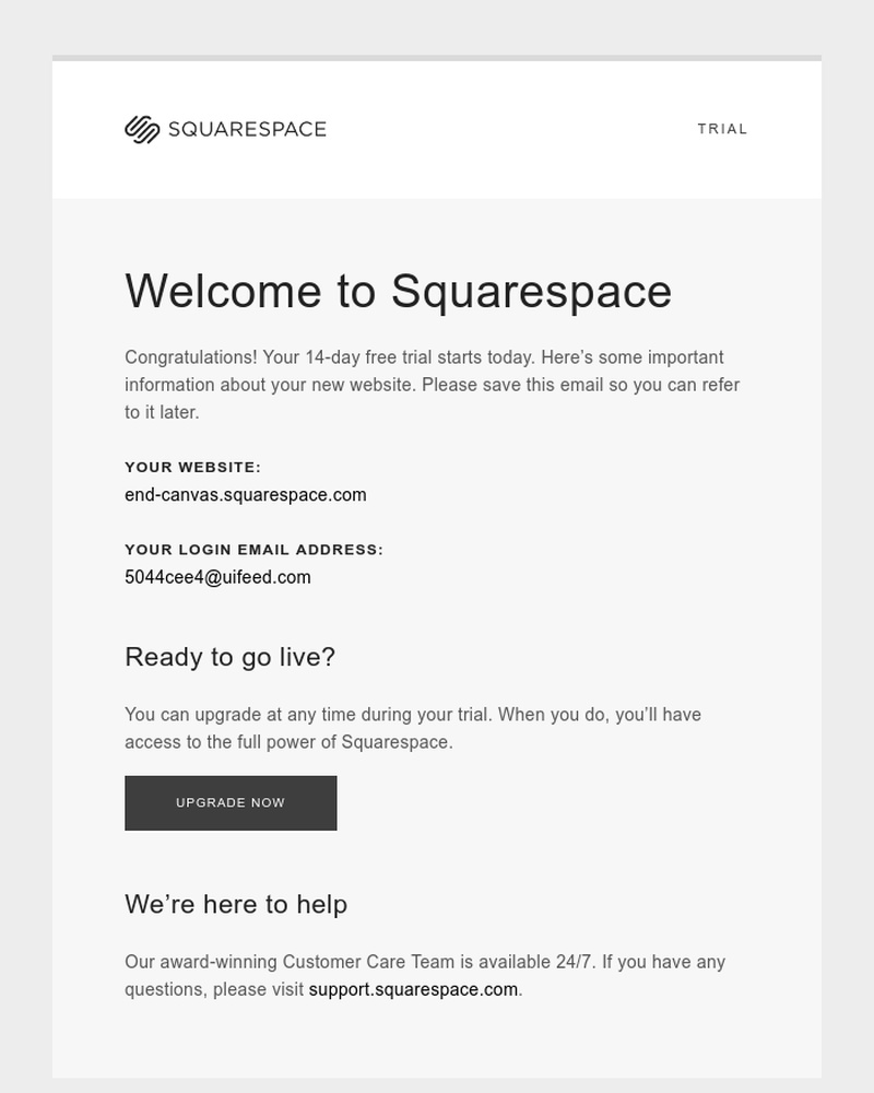 Screenshot of email sent to a Squarespace Trial user