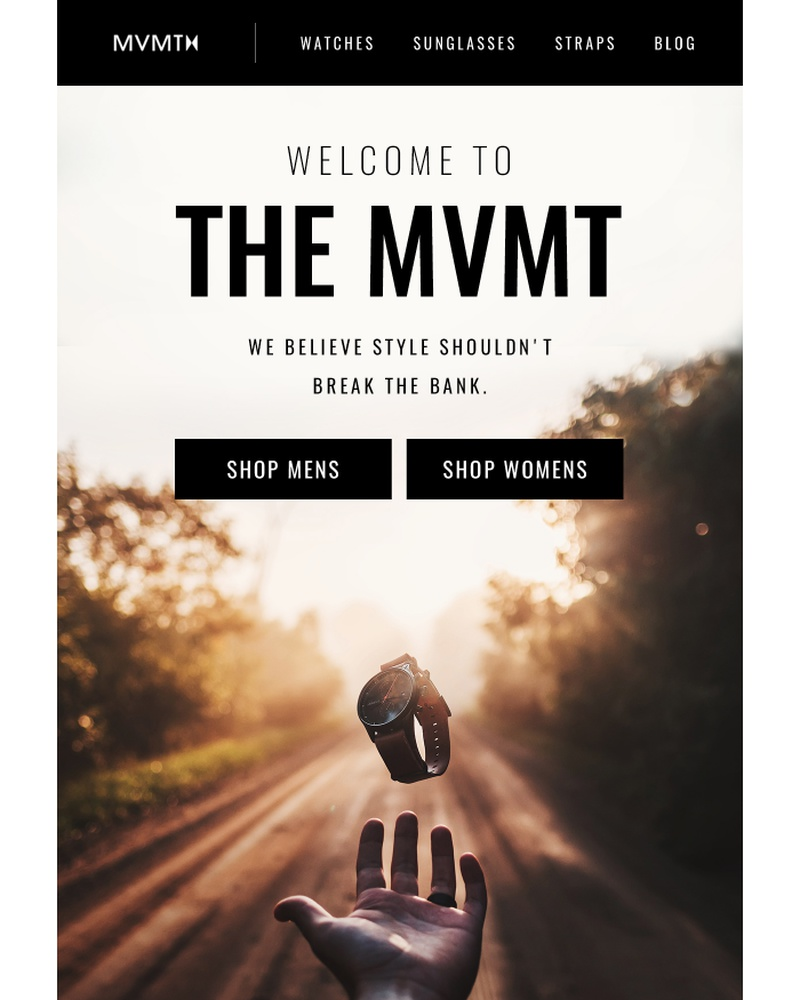 Screenshot of email sent to a MVMT Newsletter subscriber