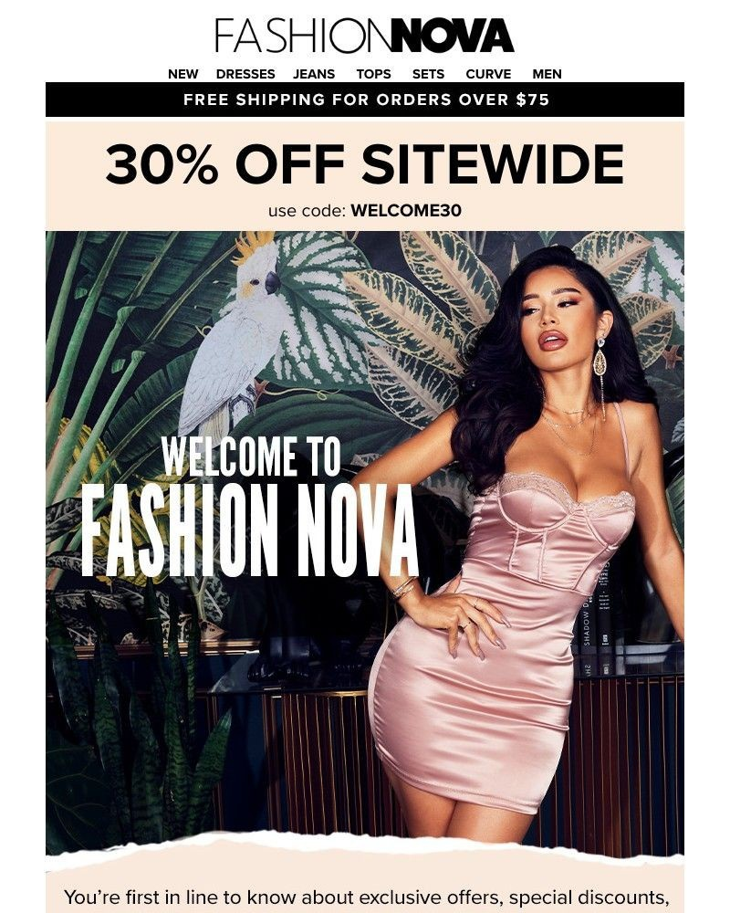 Screenshot of email sent to a Fashion Nova Registered user
