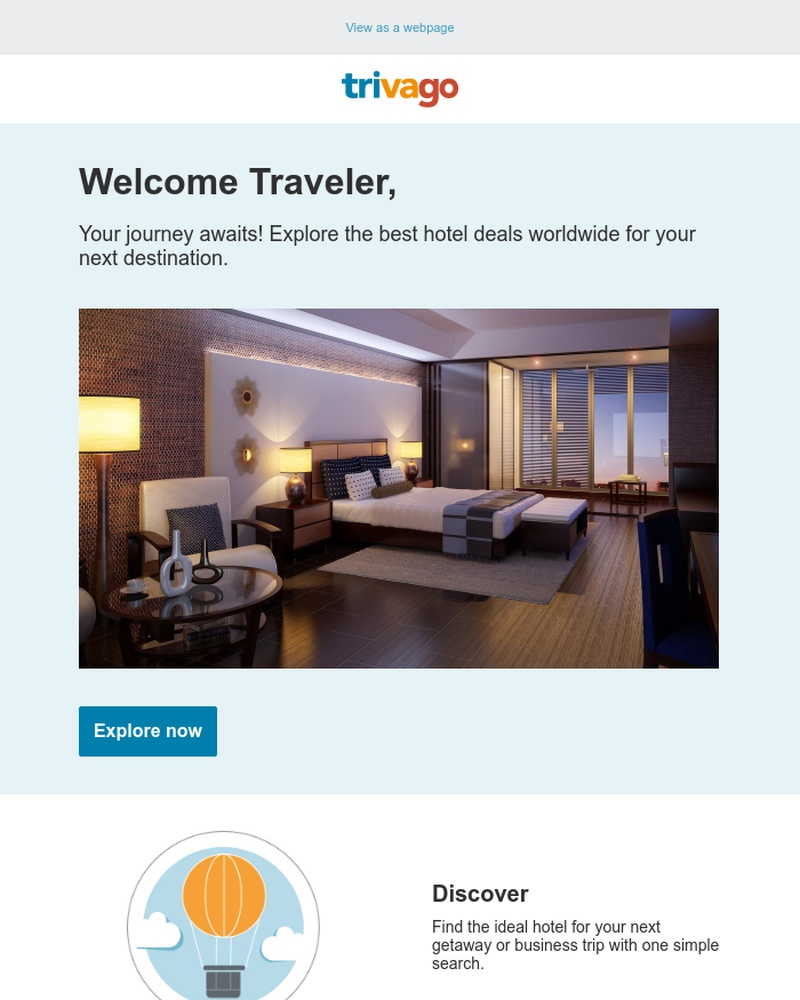 Screenshot of email sent to a Trivago Newsletter subscriber