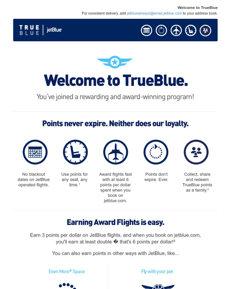 Screenshot of email sent to a JetBlue Registered user