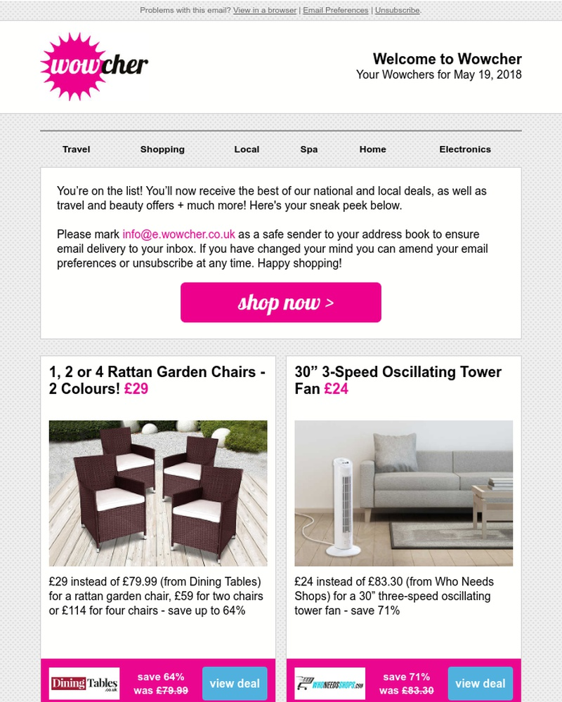 Screenshot of email sent to a Wowcher Registered user