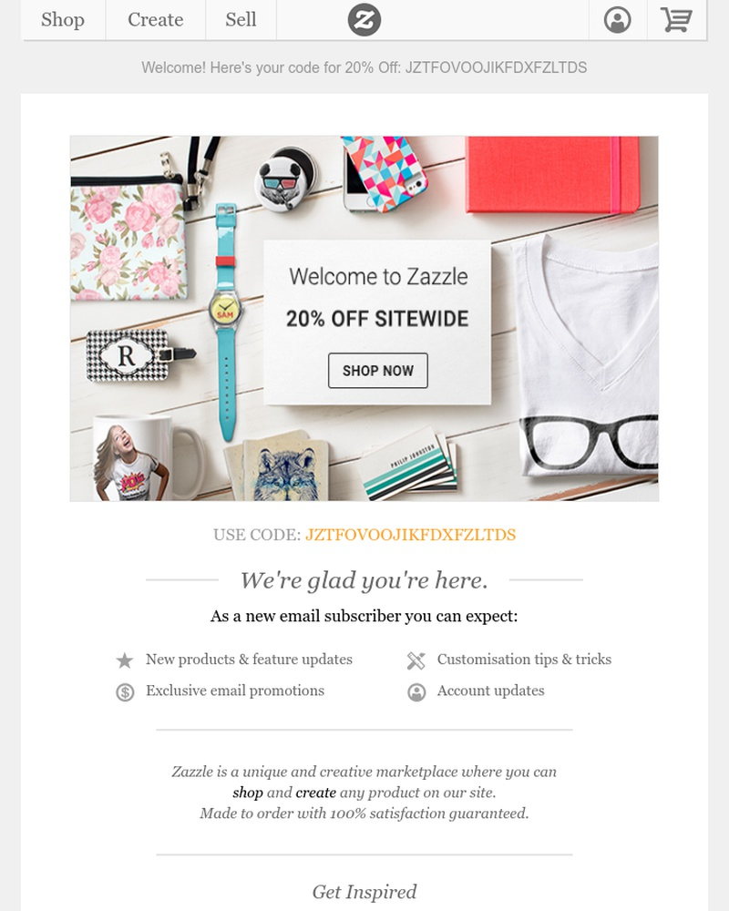 Screenshot of email sent to a Zazzle Newsletter subscriber