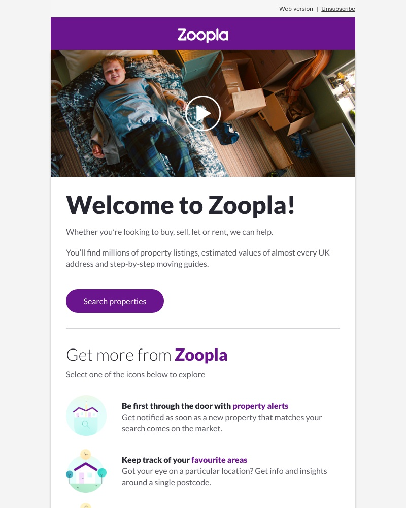 Screenshot of email sent to a Zoopla Registered user