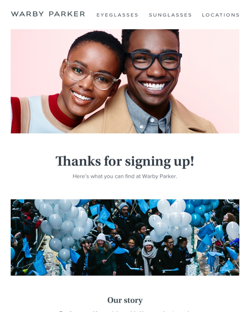 Screenshot of email sent to a Warby Parker Newsletter subscriber