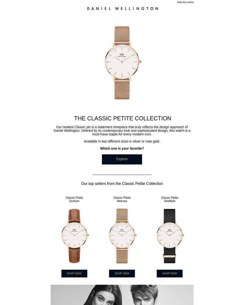 Screenshot of email sent to a Daniel Wellington Newsletter subscriber