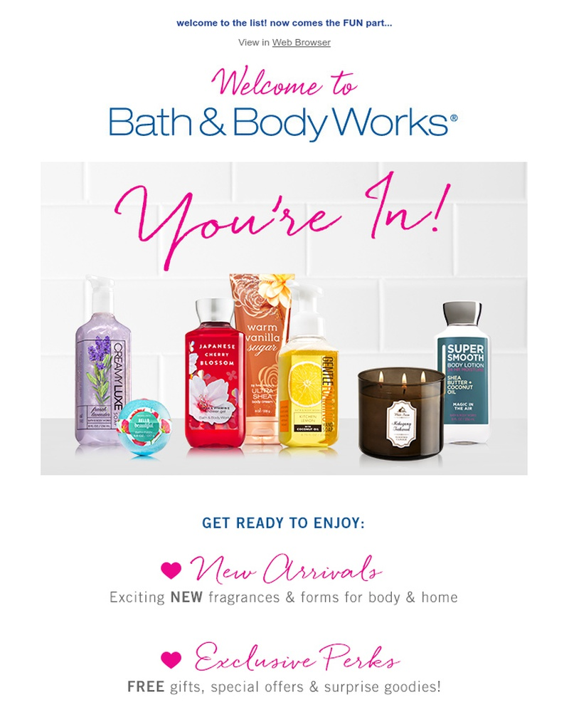 Screenshot of email sent to a Bath & Body Works Newsletter subscriber