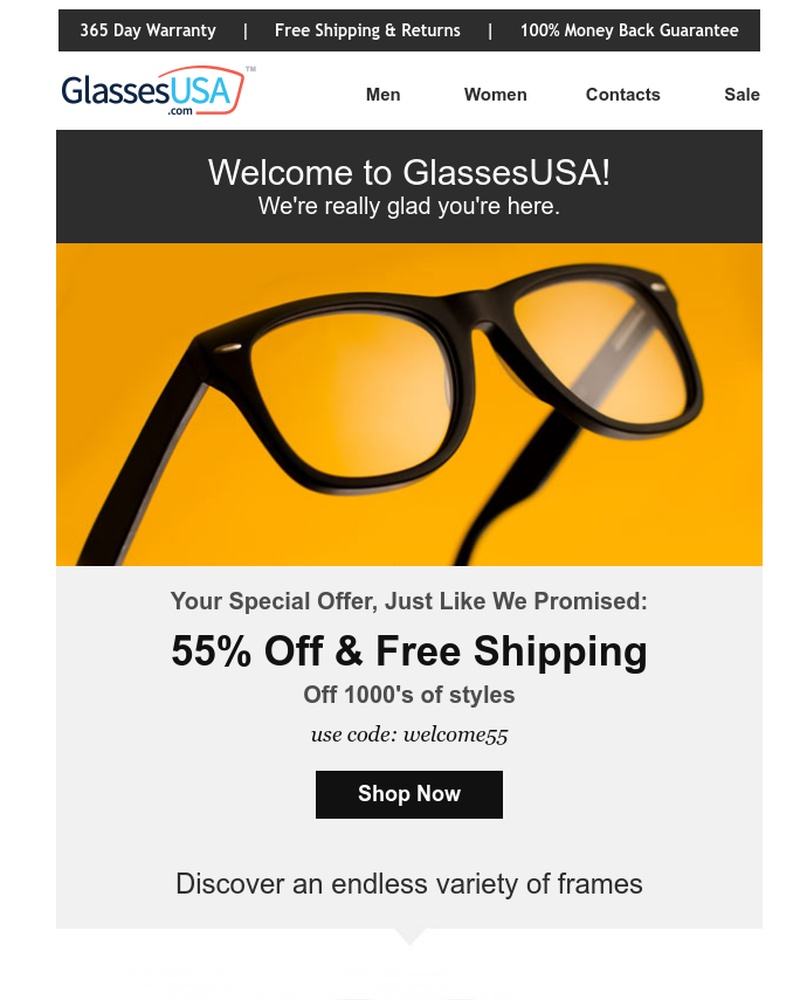 Screenshot of email sent to a Glasses USA Newsletter subscriber