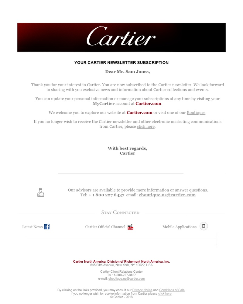 Screenshot of email sent to a Cartier Newsletter subscriber