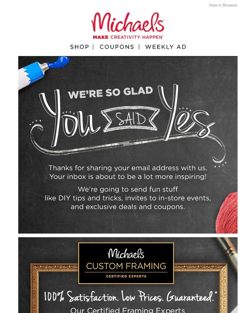 Screenshot of email sent to a Michaels Newsletter subscriber