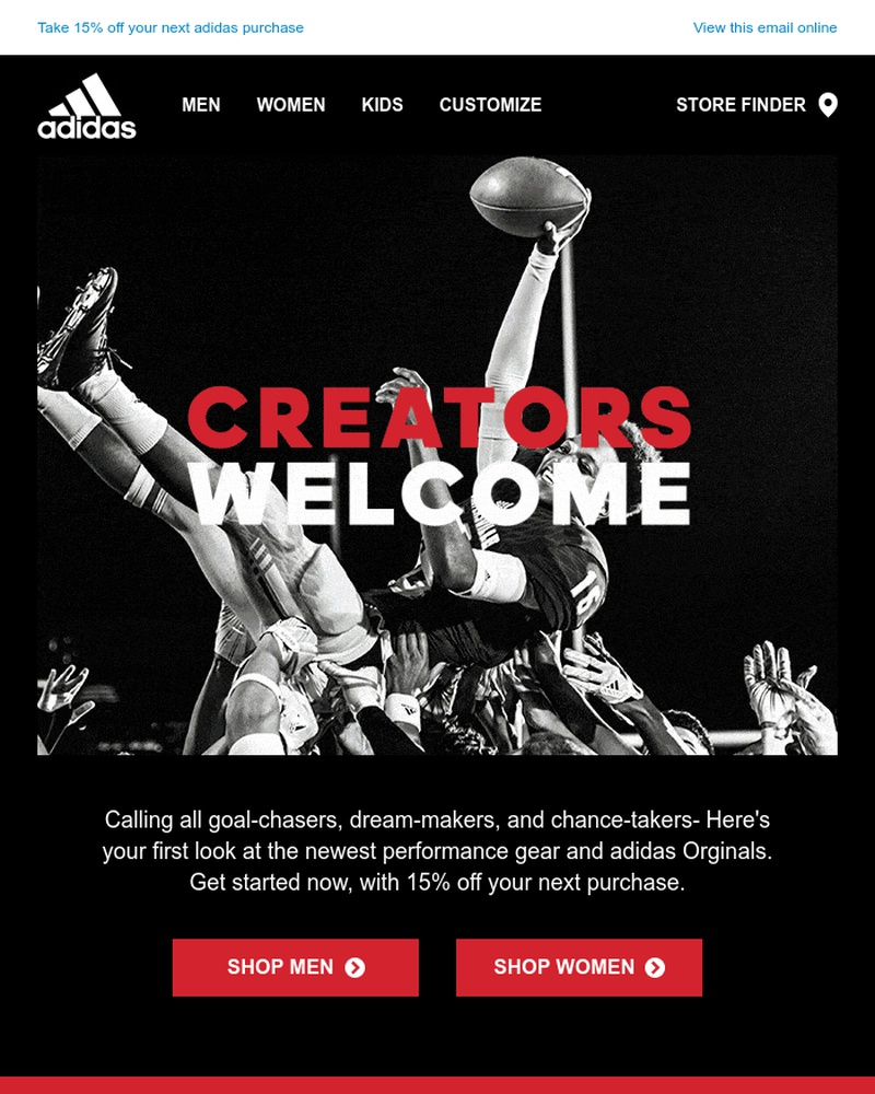Screenshot of email sent to a Adidas Newsletter subscriber