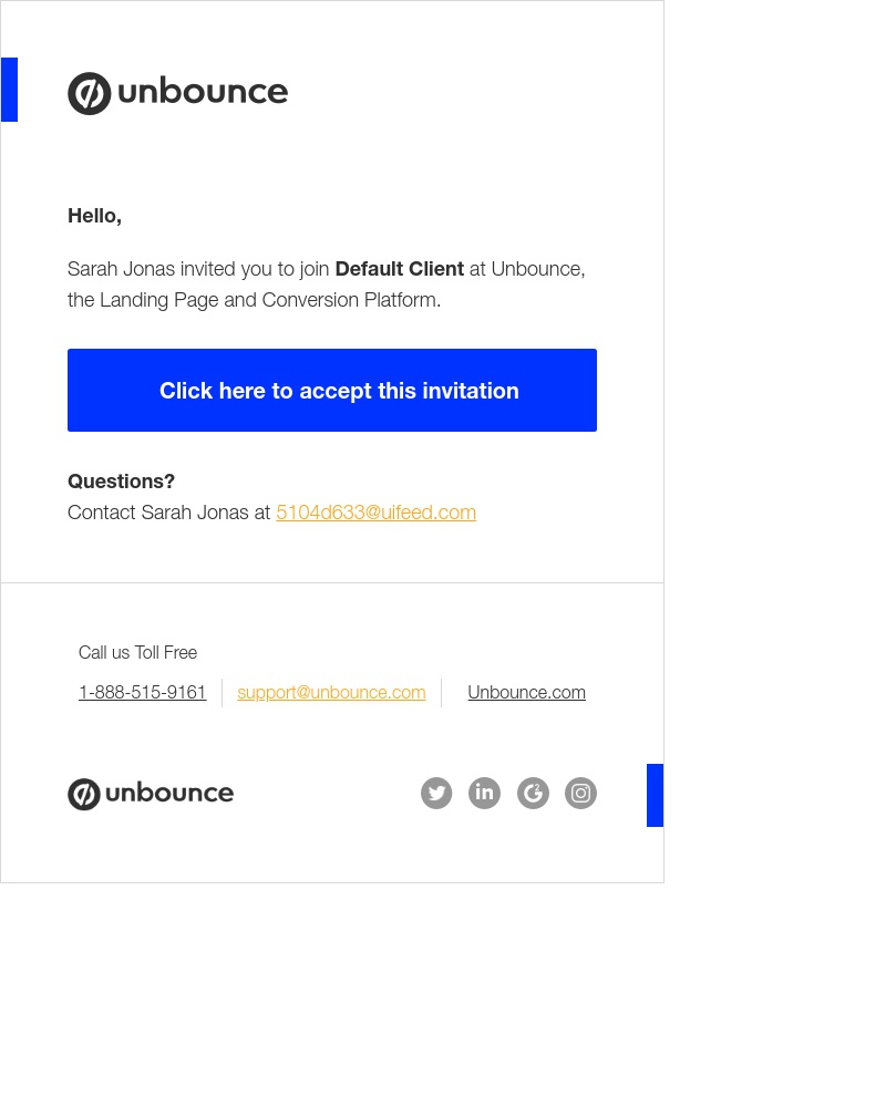 Screenshot of email sent to a Unbounce Invited user